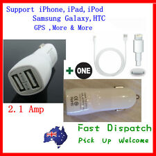 2.1A Dual USB Car Charger for iPhone 3 4 4S 5 iPad 2 3 4 iPod iTouch + USB Cable