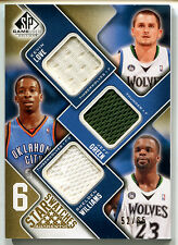 2009-10 SP Game Used DWYANE WADE KEVIN LOVE JEFF GREEN Gold 6X Jersey Patch #/65