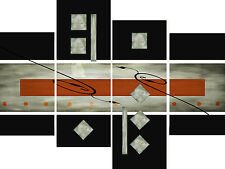 Large Tan Black Grey Abstract Canvas Picture Wall Art Split Multi 4 Panel Set