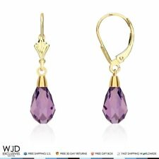 14K Yellow Gold Teardrop Amethyst Dangle Drop Leverback Earrings