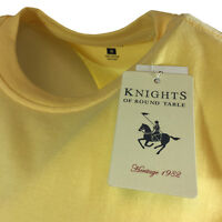 """Men's T-shirt w/ Pocket """"Knights of Round Table"""" Crewneck 100% Cotton-Yellow-NWT"""