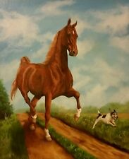 American Saddlebred horse Jack Russell dog original oil painting