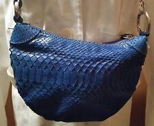 GIORGIA R Blue Python Snakeskin Cross Body Handbag  *** MADE IN ITALY **