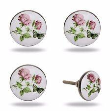 4 Möbelgriffe Möbelknopf Blume + Schmetterling Möbelzubehör Griff Knauf Knopf
