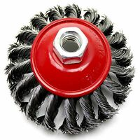 """4"""" Heavy Duty Twist Knot Wire Brush Wheel for 115mm Angle Grinder Rust Remover"""