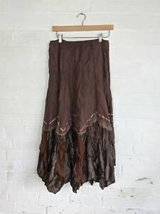 My Design Chocolate Brown Satin Hanky Hem Peasant Skirt Boho Hippie UK 12 14