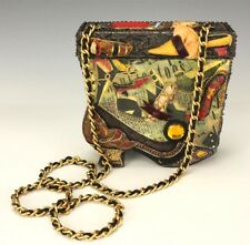 Authentic Mary Frances Vintage Shoes Wood Crossbody Shoulder Bag Purse Nr Swr