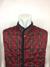 Quilted Tommy Hilfiger Vest Vintage 90's Size XL Deep Red Diamond Plaid (B-2)