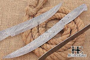 HUNTEX Custom Hand-Forged Damascus Steel 330 mm Long Full Tang Blank Blade Knife