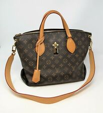 LOUIS VUITTON FLOWER ZIPPED TOTE BAG MM BROWN MONOGRAM COATED CANVAS
