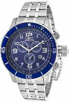 New Mens Invicta 16935 Blue Dial 3 Eye Watch