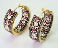 VICTORIAN 4.80CT ROSE CUT DIAMOND SILVER RUBY ATTRACTIVE HOOPS FREE SHIPPING