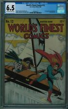 WORLD'S FINEST COMICS #12 CGC 6.5 SELDOM SEEN OR SOLD HIGHER OW/W PAGES 1943