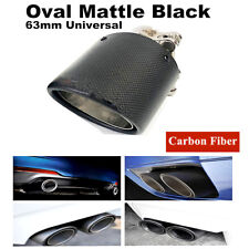 1x Universal 63mm/89mm Real Carbon Fiber + Steel Oval Car Exhaust Tip Pipe