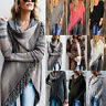 Women Tassel Knitted Cardigan Irregular Poncho Shawl Coat Jacket Sweater Outwear