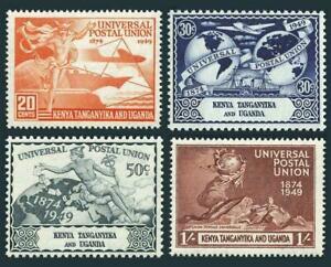 Kenya, Uganda, Tanganyika 94-97, MH, UPU-75 1949 Plane Ship Hemisphere Globe