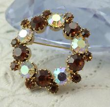 Vintage Amber AB Rhinestone Open Circle Wreath Gold Tone Pin Brooch