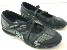 SKECHERS PatchWork Womens 8M Sneakers Floral Mary Jane Style Black Leather 21473