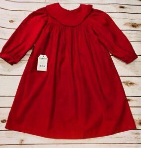 Christmas Girls Red Long Sleeve Bishop Corduroy Dress Multiple Sizes BNWT