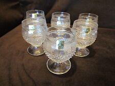 OBERGLAS GLASS 6 goblets AUSTRIA DIAMOND POINT LIQUOR COGNAC BARWARE Czech 5 oz