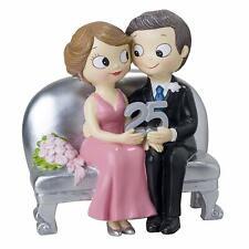 Cake Topper Centrotorta Matrimonio Coppia di Sposi Seduti 25 Anniversario