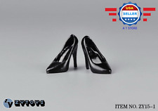 ZY Toys 1/6 scale BLACK High Heel Pumps Shoes for 12'' female figure PHICEN