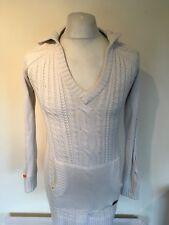 Ladies Superdry Cable Knit Long Line Jumper Hoodie Dress Medium Womens