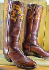 Tall Vintage LUCCHESE Full Buffalo Size 9.5 D Men Handmade Exotic Cowboy Boots