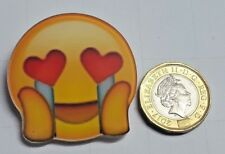 Cute Emoji Crying Love Acrylic Badge - Pin Badges - Backpack - Brooch -UK Stock