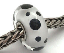 Authentic Trollbeads Murano Glass Black Spot Bead Charm 61400, New
