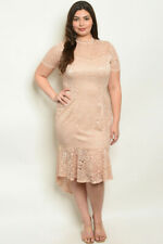 Womens Plus Size Taupe Lace Dress 3X High Low Lined