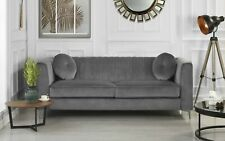 Contemporary Sleek Velvet Living Room Sofa 3 Seater Couch 2 Accent Pillows, Grey