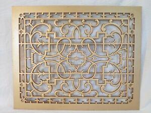 "ANTIQUE GOLD-GILT CAST IRON FURNANCE FLOOR VENT COVER GRATE REGISTER 16""x13"""