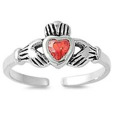 Ruby Cz Face Height 7 mm Claddagh Toe Ring Genuine Sterling Silver 925