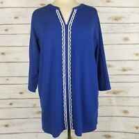 Lands End Blue White Embroidered 3/4 Sleeve Stretch Blouse Top Size 1X 16W-18W