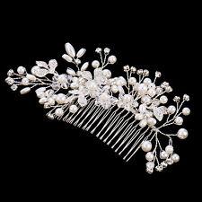 Wedding Bridal Jewellery Rhinestone Crystal Flower Pearls Silver Hair Comb Clip