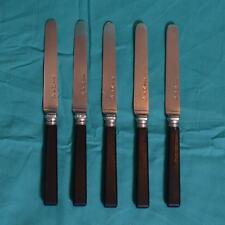 Suite de 5 couteaux à fruits lames en argent poinçon Vieillard manches ébène