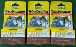 Lot Of 3 Tetra Vacation Tropical Feeding Blocks - Feeds Up To 14 Days - EXP 2024