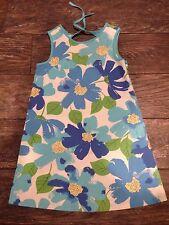 Gymboree Pool Party Mod Aqua Blue Green White Flower Shift Dress Size 6
