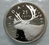 1986 CANADA 25 CENTS PROOF QUARTER HEAVY CAMEO COIN