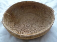 VINTAGE Folk Art EARLY HAND TIGHT WEAVE WOVEN BASKET hand painted BEAUTYFUL