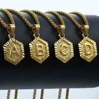 Hexagon A-Z Gold Filled Initial Letter Pendant Necklace Chain For Women Men