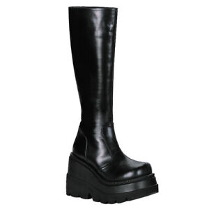 "DEMONIA Shaker-100 4 1/2"" P/F Closed Toe Knee-High Boots"