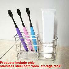 Stainless Steel Toothbrush Holder Metal Toothpaste Stand Bathroom Organizer With