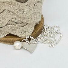 """Silver Quirky Heart Pearl Necklace Sterling Silver Ball Chain (18""""/45cm)"""