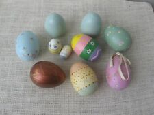 Painted Wood Easter Eggs Lot of 10 Glittered Various Sized Ribbon Flowers Open