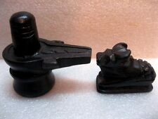 Shivling Statue Black Stone Lord Shiva Shiv Lingam With Nandi Bull - Energized
