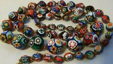 ANTIQUE VINTAGE VENETIAN MURANO ITALIAN GLASS MILLEFIORI BEADS NECKLACE ITALY