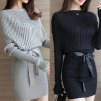 Women Winter Warm Cotton Knitted Long Sleeve Slim Evening Party Cocktail Dress