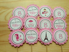 Paris Personalised Cupcake Topper~Birthday, Baby Shower, Christening